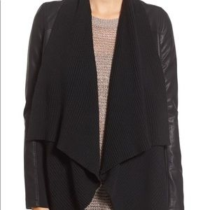 Blank nyc faux leather sweater jacket